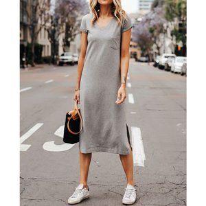Cuyana V-Neck Midi Tee Dress Heather Grey - XL